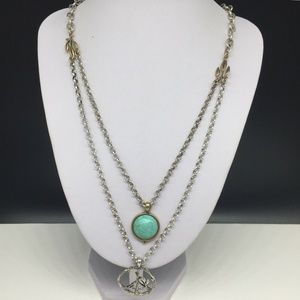 Lucky Brand Turquoise & Peace Sign Symbol Necklace